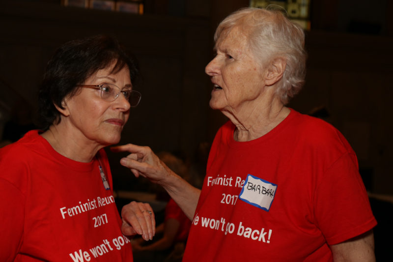 Carole DeSaram, left, and Barbara Love at the reunion of second-wave feminists at Judson. Photos by Tequila Minsky